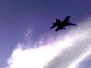 This is one of two  CF-18  Hornets spotted taking off from the Kelowna Airport Saturday.  (Photo: Rob McGee)