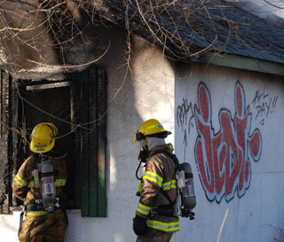 The boarded up house was also the scene of a fire in 2005. (Photo: Kelly Hayes)