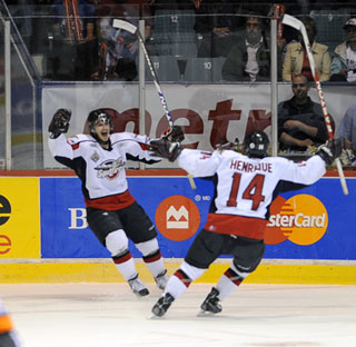 Adam Henrique scored the winner in overtime Friday, lifting Windsor into the Memorial Cup final against the Kelowna Rockets. (Photo: Aaron Bell - CHL)