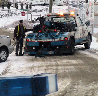 Tow truck drivers have been busy Tuesday as Central Okanagan roadways deteriorate due to icy conditions. (File Photo: Kelly Hayes - Castanet)