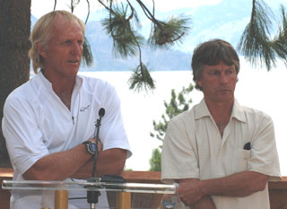 Greg Norman and Norm Porter of Treegroup developments. (File Photo: Kelly Hayes)