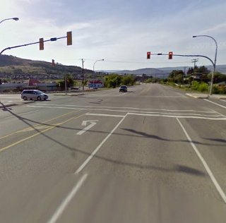 A young woman was apparently hit by a vehicle and died near this intersection in Coldstream. (Photo: Google Maps)
