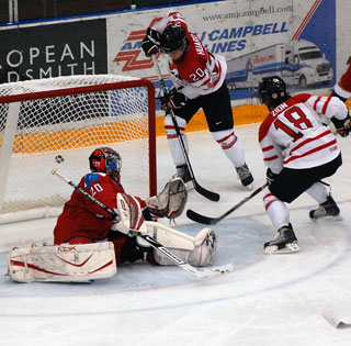 Russian netminder Oleg Dyatlov makes a spectacular save during a pre-tournament game against Team Canada East. (File Photo: Wayne Moore - Castanet)