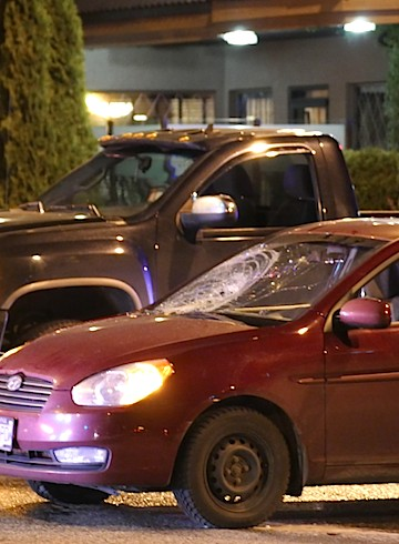 A man is in hospital after he apparently tried to dodge through traffic on Harvey Avenue in Kelowna Friday night.