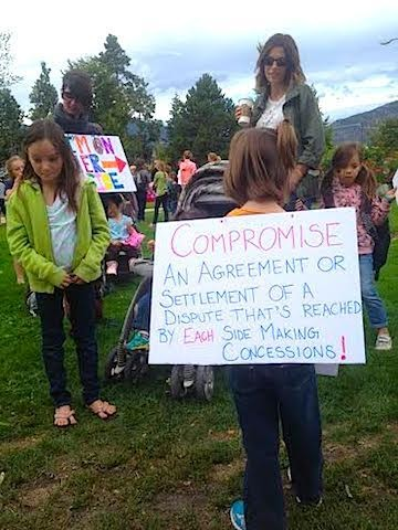 Parents and students protest the strike in Penticton.
