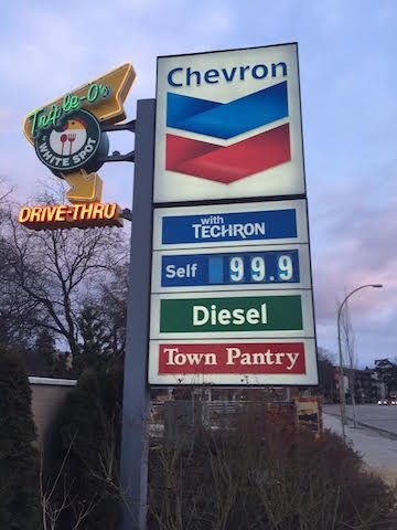 Gas prices in the Central Okanagan jumped four cents late Friday afternoon.
