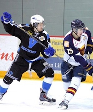 Scott Conway scored the game-tying and game-winning goals, in the Penticton Vees 4-3 come-from-behind overtime win against the Vernon Vipers, Wednesday.