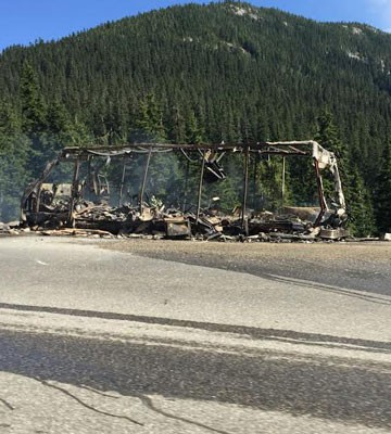 Nothing is left of this motorhome which caught fire on the Coquihalla Highway Tuesday afternoon.