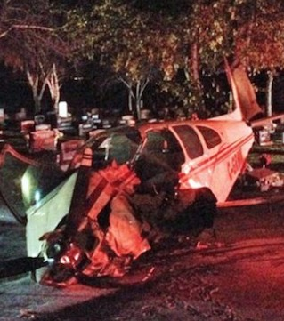 A small plane crash landed in a cemetery in Medicine Hat, Alta. Saturday night.