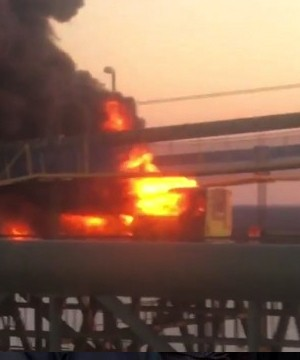 An RV carrying marijuana-laced candy burst into flames on a bridge that connects New Jersey and Delaware Sunday evening.