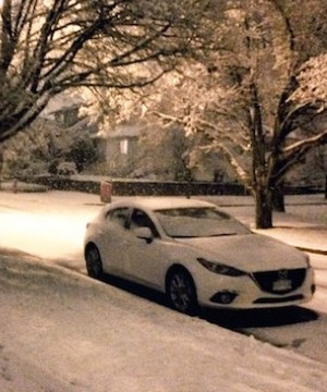 Wet, slippery snow is causing havoc on the morning commute in Vancouver.