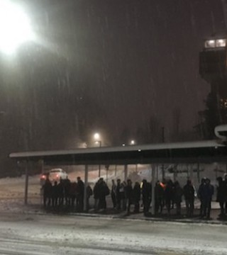 Hundreds of university students were stranded on Burnaby Mountain for hours Friday.