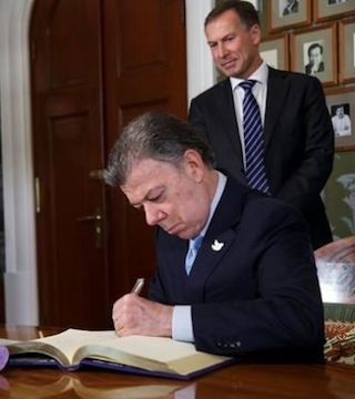 Colombian President Juan Manuel Santos accepted the Nobel Peace Prize on Saturday.