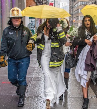 NYC fire chaplain performs wedding at scene of crane collapse.
