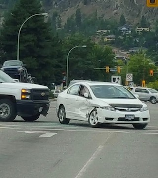 A two vehicle collision at the intersection of Gordon Drive and Harvey Avenue slowed Friday evening's commute about 6 p.m.