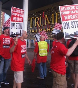 Union workers hit picket line at Trump Taj Mahal casino in Atlantic City.