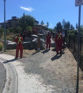 Fire rescue crews are in Kettle Valley trying to rescue a woman from Crawford Falls.
