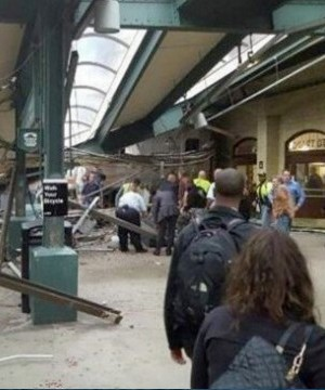 A commuter train from New York barrelled into a New Jersey rail station during the Thursday morning rush hour, causing an unknown number of injuries.