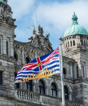 M�tis and provincial government representatives gathered in front of the British Columbia Parliament Buildings today to mark Louis Riel Day.