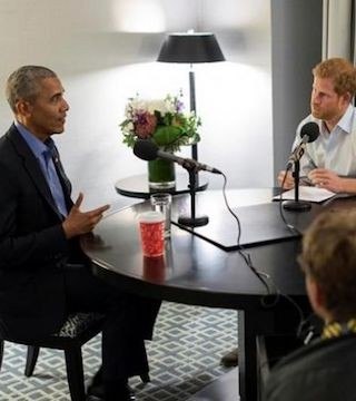 Prince Harry interviews former U.S. president Barack Obama for a radio program.