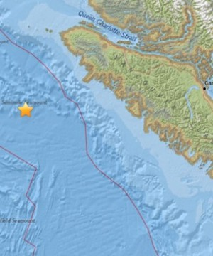 A magnitude 4.4 earthquake rumbled off the coast of British Columbia late Wednesday night.