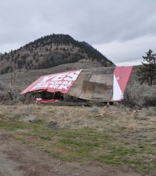 Vandals in the South Okanagan destroyed a billboard that was supporting a national park in the area