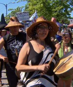 Hundreds of people have completed a 75-kilometre march in protest of the Kinder Morgan Trans Mountain pipeline expansion.