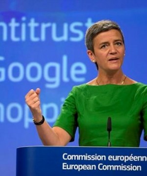 The E.U. slapped a record 2.4B euro fine on internet giant Google for taking advantage of its dominance in online searches to direct customers to its own online shopping business.