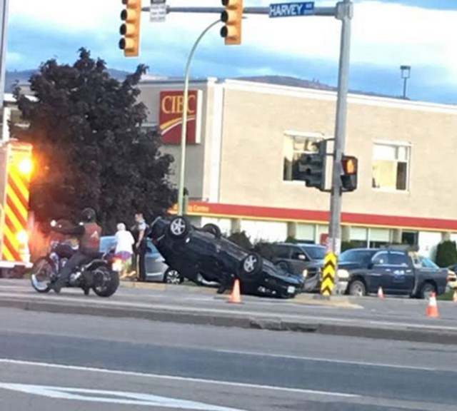 crash sends car on its roof kelowna news. Black Bedroom Furniture Sets. Home Design Ideas