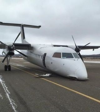 Landing gear issue forces plane to crash land.