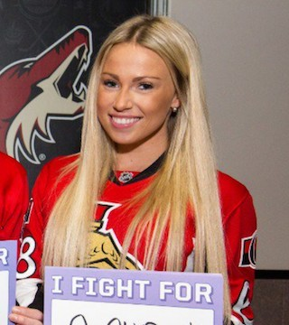 Monika Caryk, Senators player Mike Hoffman's girlfriend, is accused of cyberbullying Karlsson's wife.