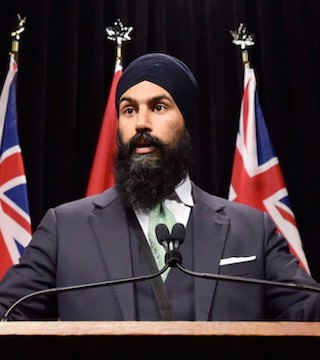The NDP says Singh becomes the first racialized party leader to sit in the House of Commons.