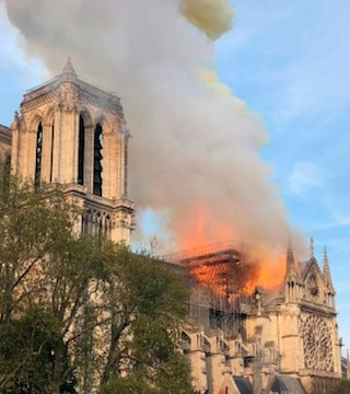 Fire engulfs Notre Dame Cathedral in Paris.