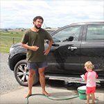 Wash a car with a baby