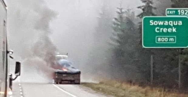 Truck fire, chemical spill closes Highway 5 between Hope, Merritt