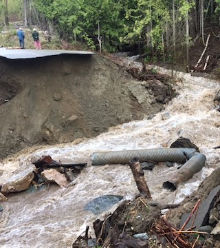 Eagle Bay Road wiped out by torrent of water in Shuswap.