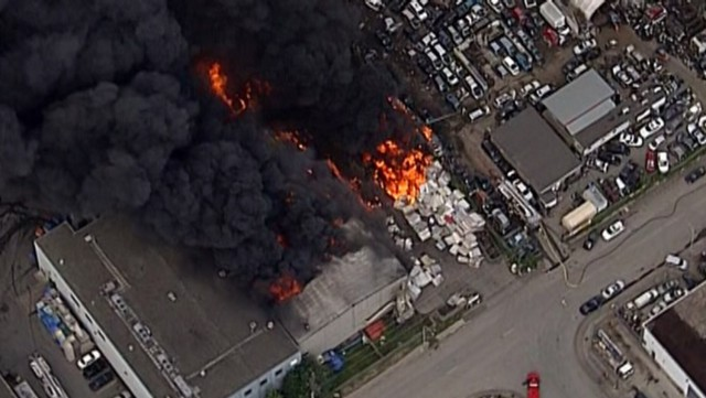 Firefighters battle blaze in industrial area of Richmond