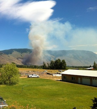 The B.C. Wildfire Service is responding to a grass fire near Cawston