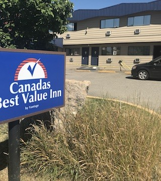 Crime scene tape up at Kelowna motel following assault early Tuesday.