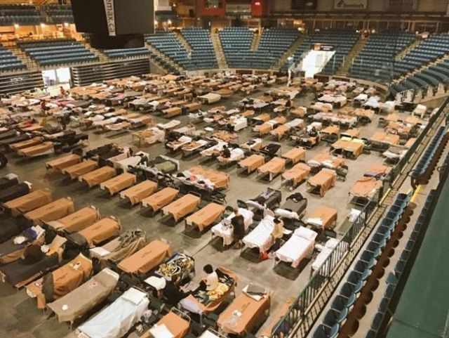 Cots are set up for evacuees at the Sandman Centre in Kamloops