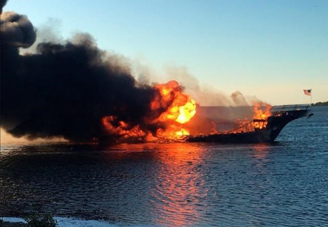 Cruise boat shuttle fire in Port Richey