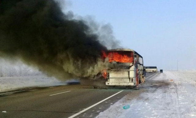 52 dead after bus catches fire in Kazakhstan