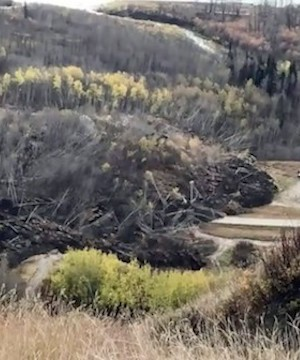 Temporary road being built into landslide evacuated area of Fort St. John.
