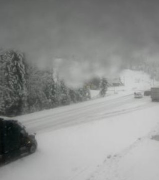 Winter driving conditions are in effect on the Trans Canada Highway east of Sicamous.