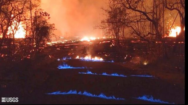 These 'eerie' blue flames just popped up in Hawaii