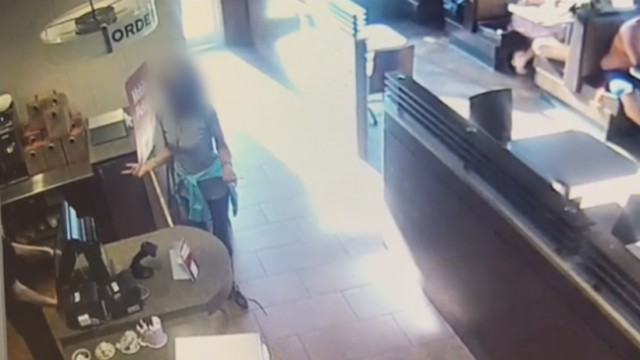 Furious woman poos on cafe floor then hurls it at waiter