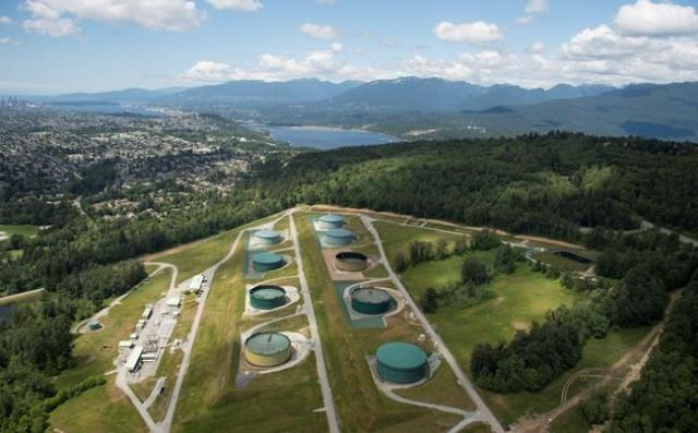 A aerial view of Kinder Morgan's Trans Mountain tank farm