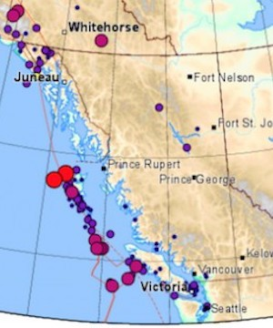 Hundreds of tiny tremors shake beneath Vancouver Island in just 48 hours.