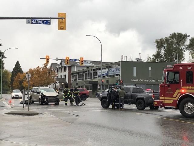 Two vehicles collide at Harvey Ellis in Kelowna - Kelowna News
