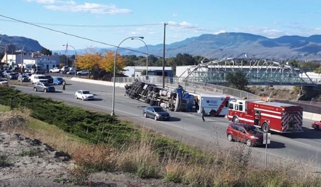 Lumber truck rolls on its side on Battle Street off-ramp - Kamloops News